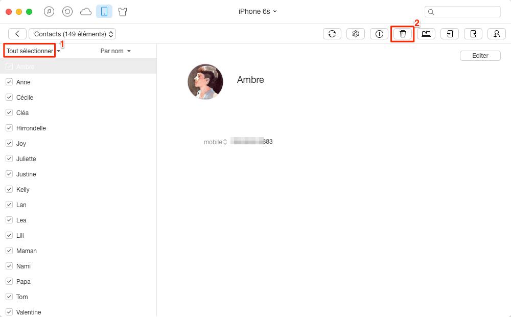 Supprimer tous les contacts sur iPhone 6 via AnyTrans - étape 2