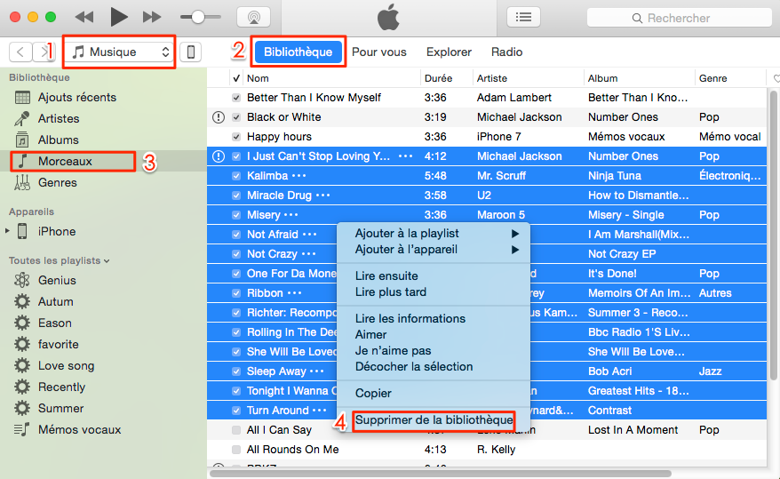 Comment supprimer toutes les musiques iTunes en un clic