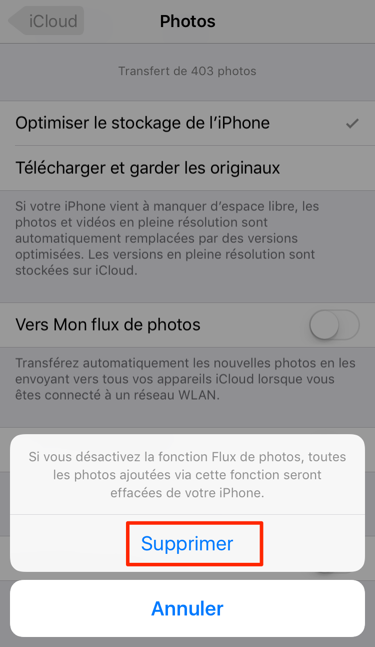 Comment supprimer Flux de photos sur iPhone