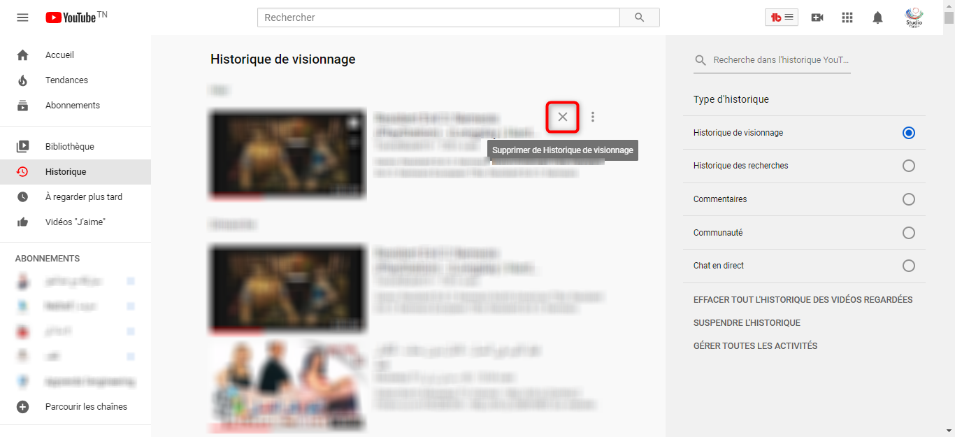 Supprimer une vidéo de l'historique de Youtube - étape 2