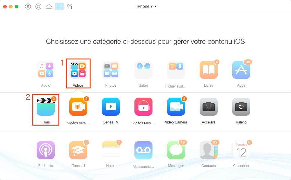 Supprimer les vidéos iPhone 7/7 Plus – étape 2