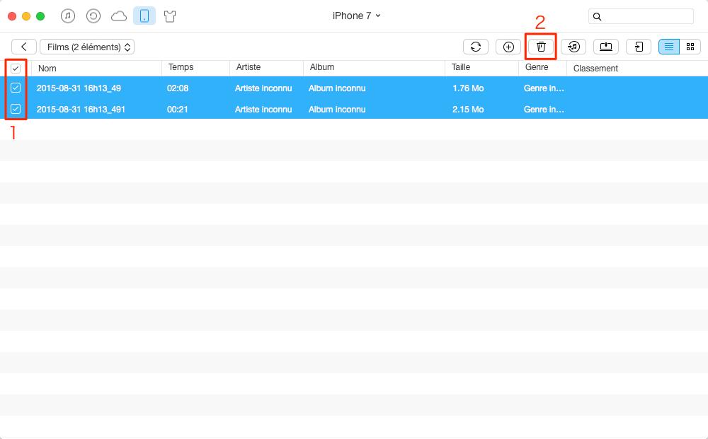 Suppression des vidéos iPhone 7 – étape 3