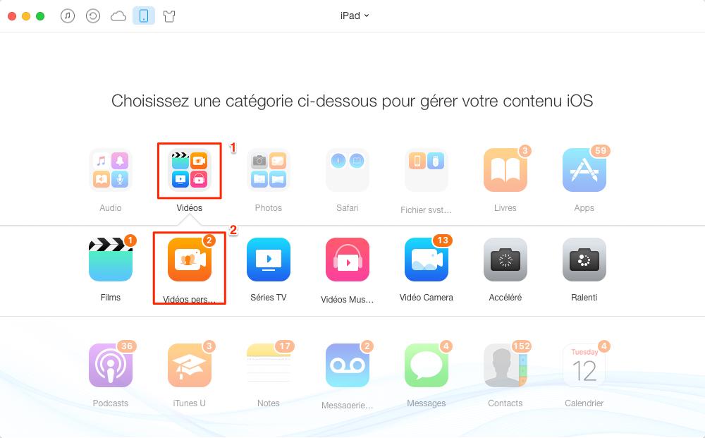 Supprimer des vidéos sur iPad - étape 2