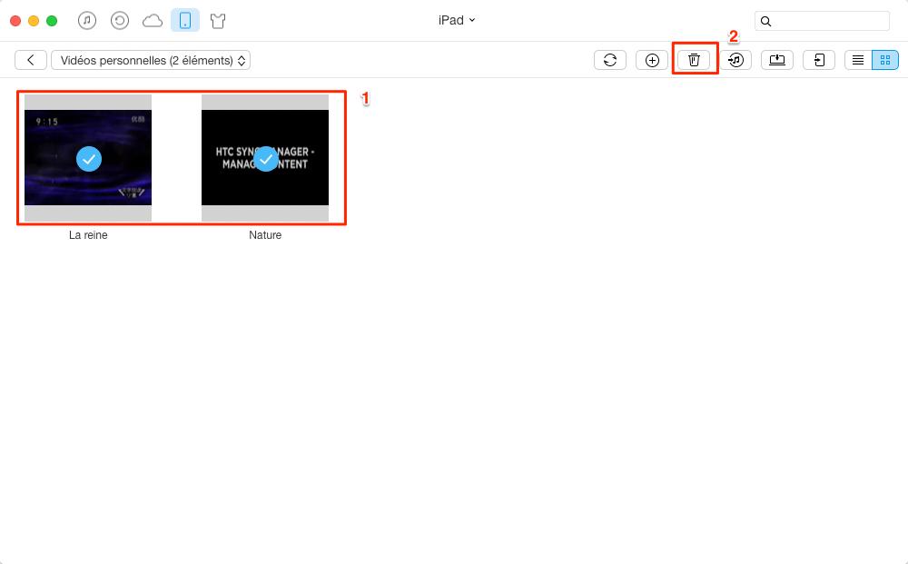 Supprimer des vidéos sur iPad - étape 3