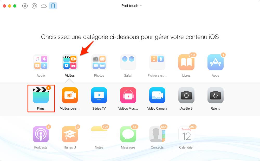 Comment supprimer les vidéos sur iPod touch facilement – étape 2