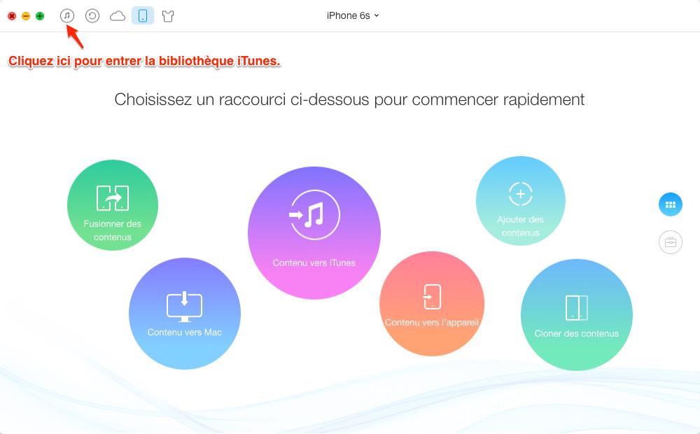Synchroniser la bibliothèque iTunes vers iPhone 6/6s – étape 1