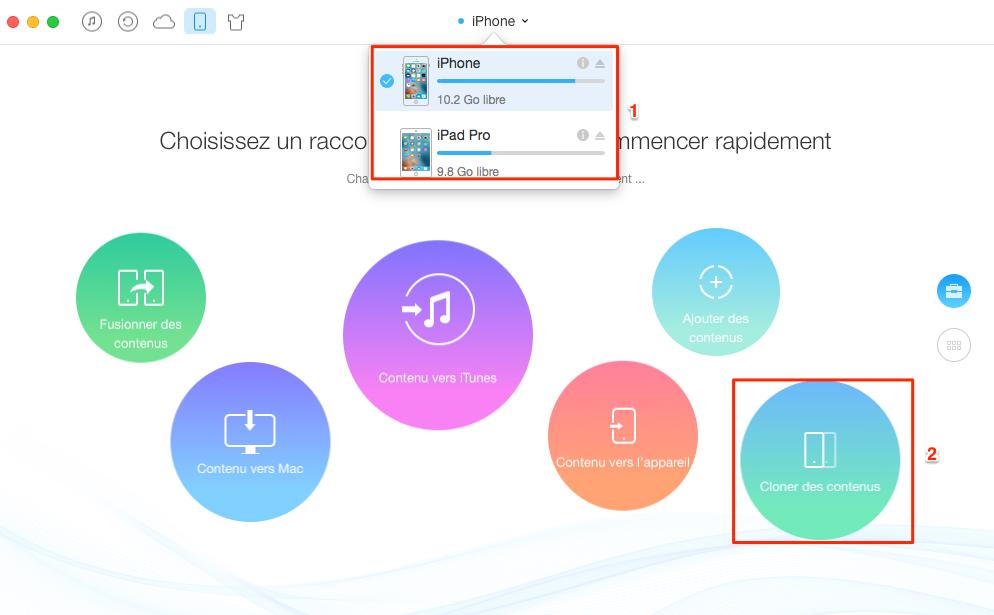 Transférer les calendriers de l'iPhone vers l'iPad - étape 1