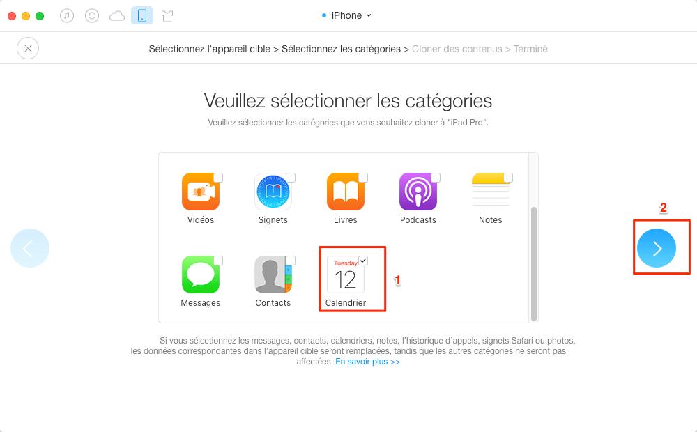 Synchronisation de calendriers l'iPhone avec l'iPad - étape 3