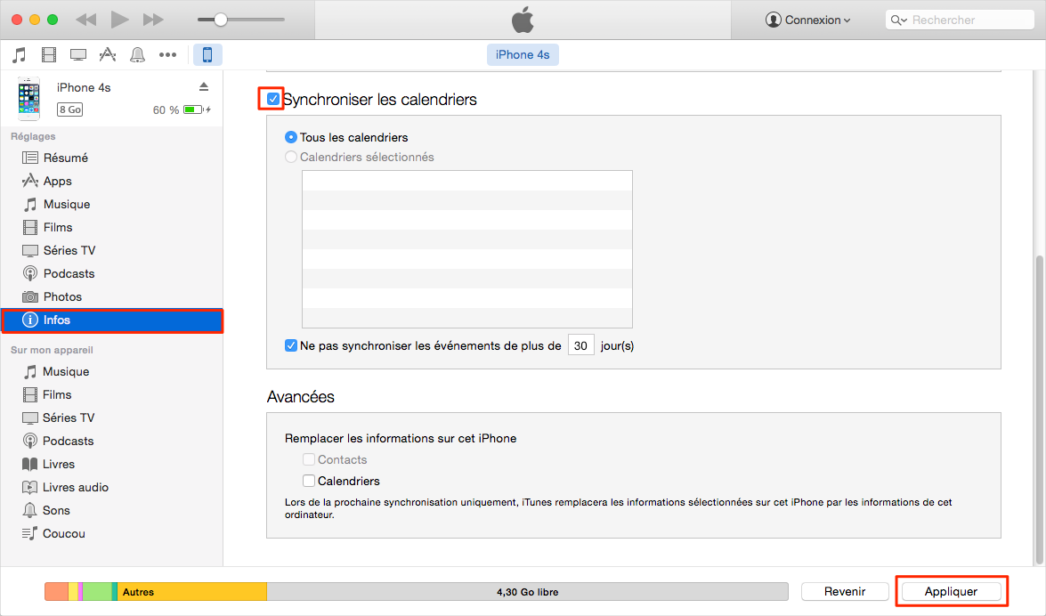 Synchroniser les Calendriers l'iPhone et Mac via iTunes