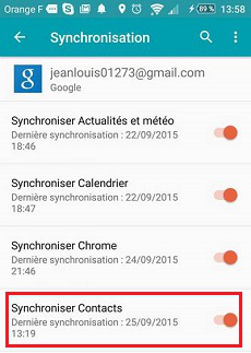 Synchroniser contacts avec Google