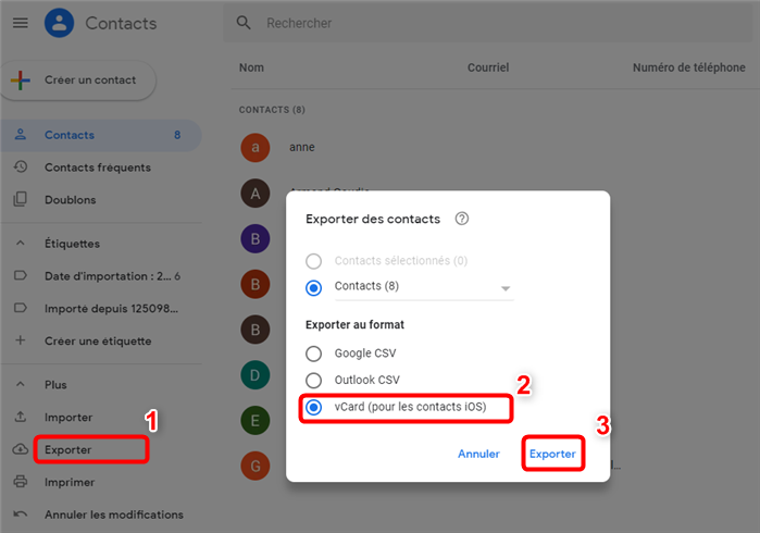 Synchroniser les contacts Google avec iCloud
