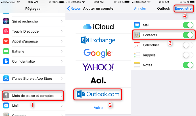 Synchroniser contact iPhone Outlook