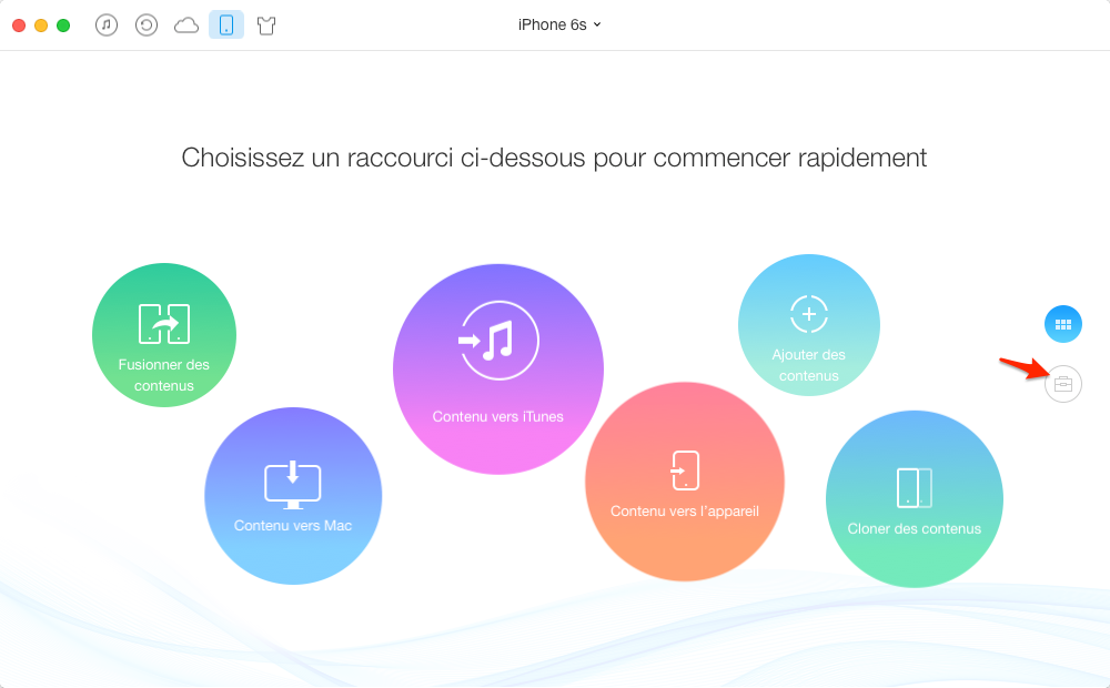 Synchroniser les contacts iPhone 6 via AnyTrans - étape 1