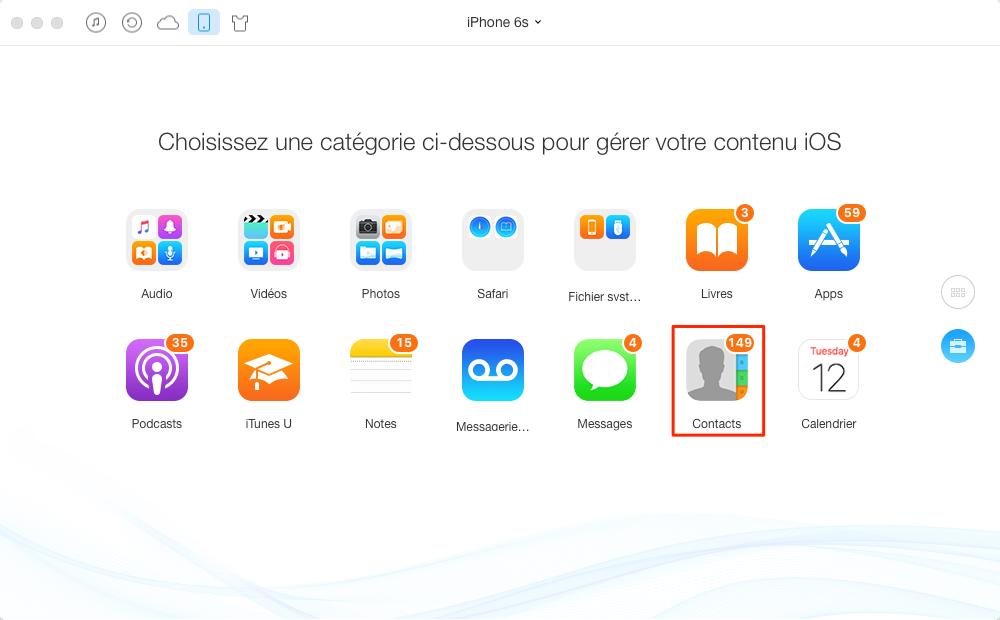 Sauvegarder des contacts iPhone vers Mac - étape 2