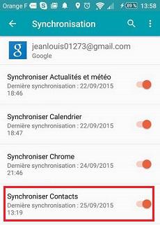 Synchroniser données SIM avec Google