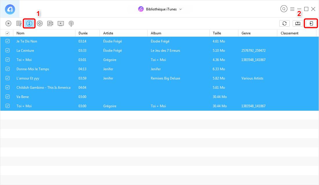 Synchroniser bibliothèque iTunes sur iPhone sans iTunes – étape 2