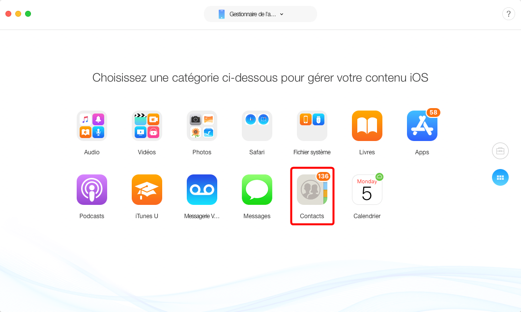 Comment importer les contacts iPhone vers Mac – étape 2