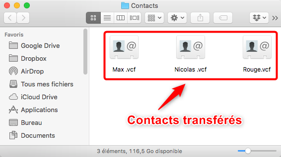 Importer les contacts iPhone vers Mac – étape 4