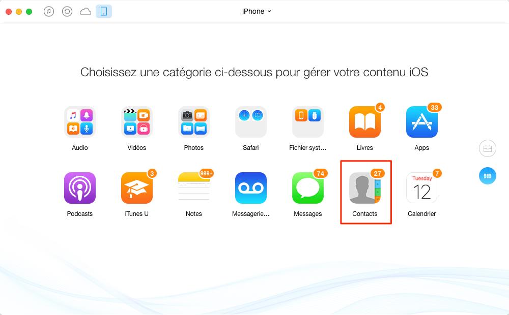 Importer les contacts vers Mac depuis iPhone 5/6/7 – étape 2