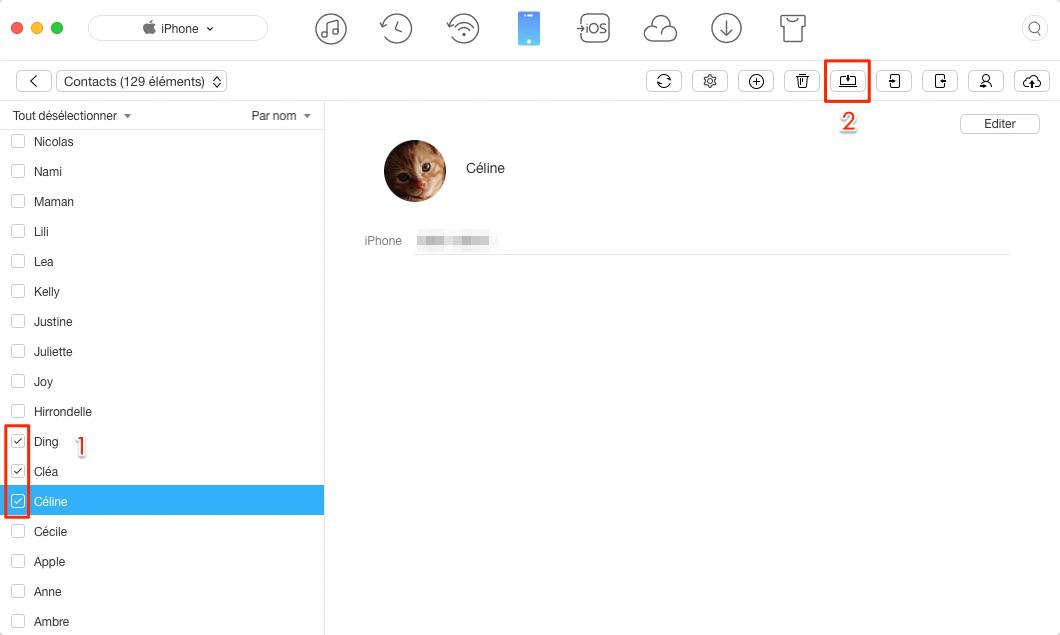 Transférer les contacts iPhone vers Mac – étape 3
