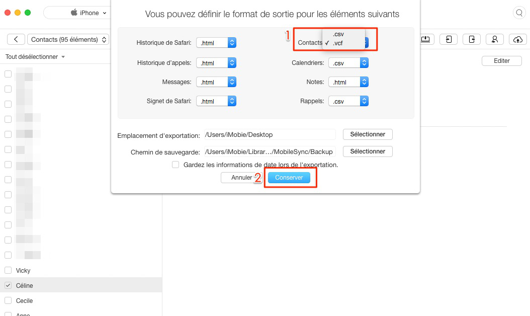 Transfert de contacts d'iPhone vers Mac sans iTunes
