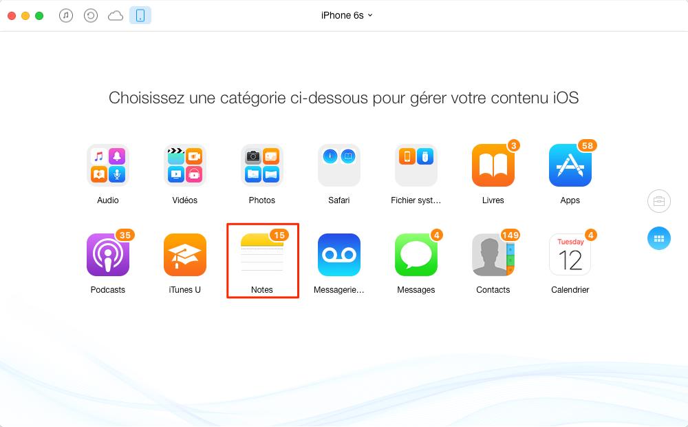 Transférer des notes iPhone 6s vers Mac directement - étape 2