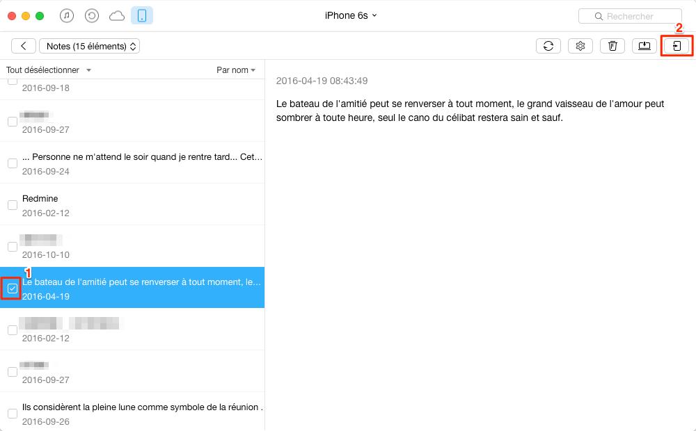 Sauvegarder des notes iPhone 6s vers Mac - étape 3