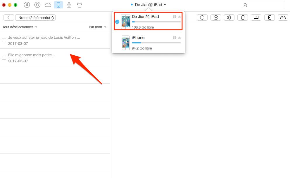 Transférer des notes iPad vers un autre – étape 2