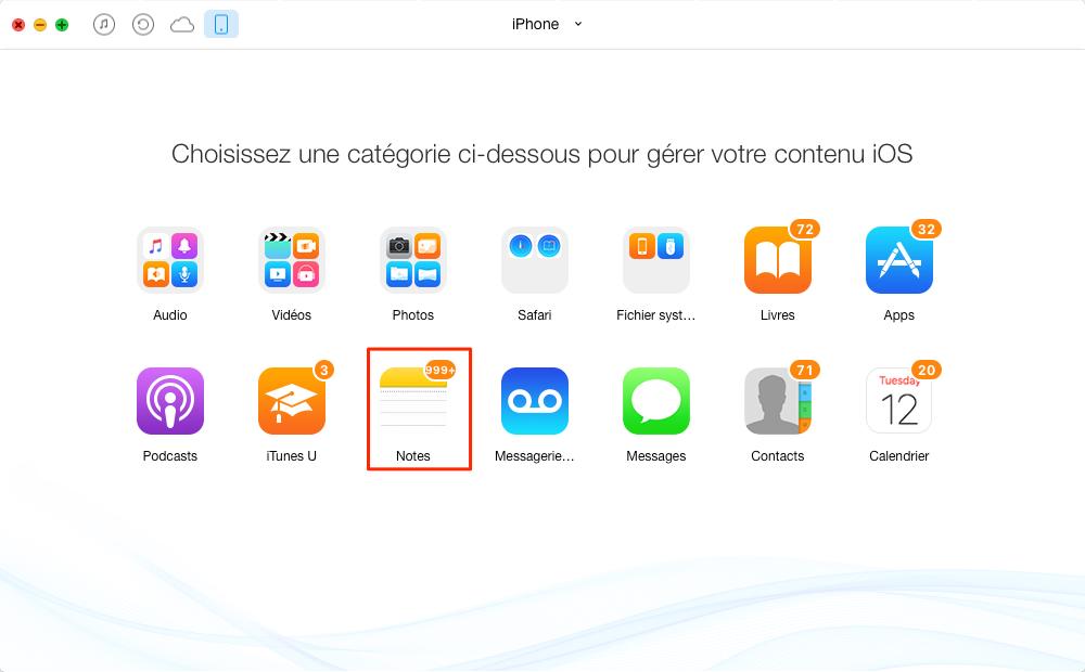 Transférer des notes iPhone vers un Mac avec AnyTrans - étape 2