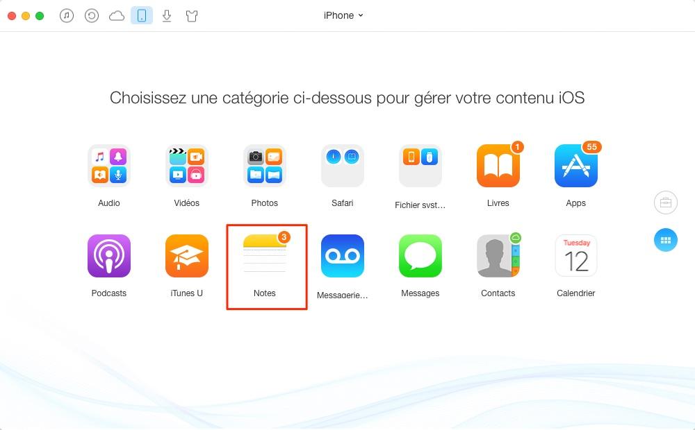 Mettre les notes sur iCloud avec facilité – étape 2