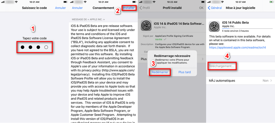 Installer Màj iOS 14 bêta