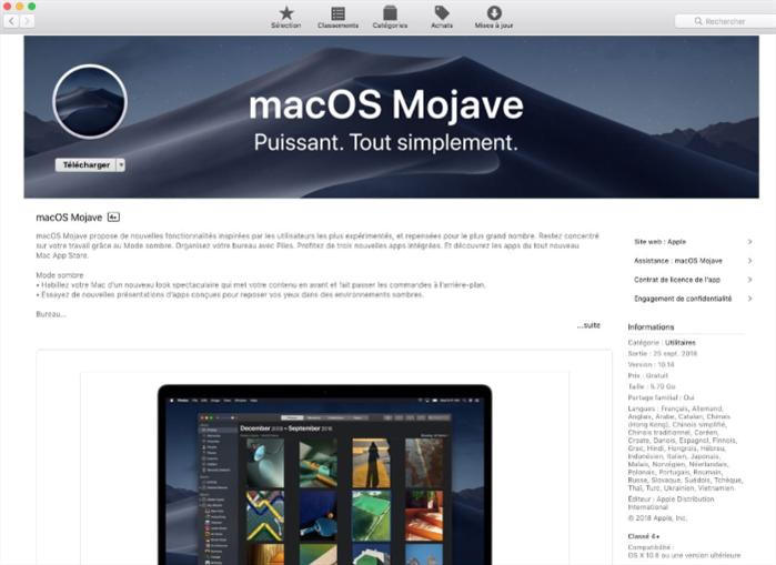 Télécharger macOS Mojave