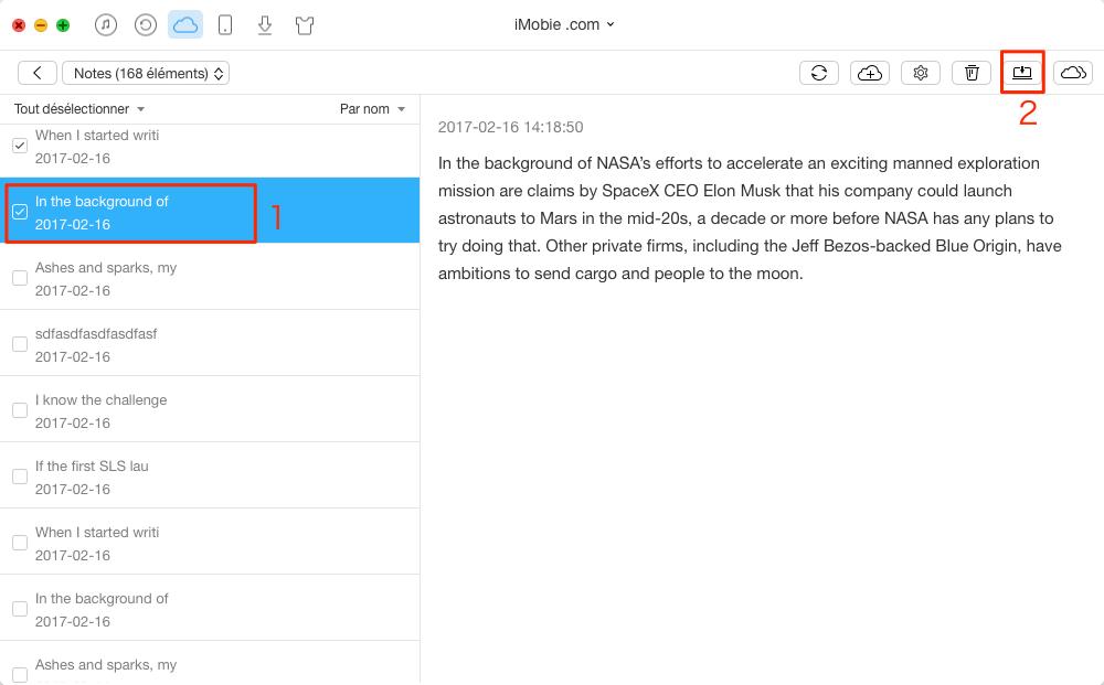 Moyen facile d'exporter des notes depuis iCloud – étape 3