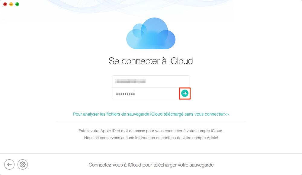 Télécharger la sauvegarde iCloud avec PhoneResuce - étape 2