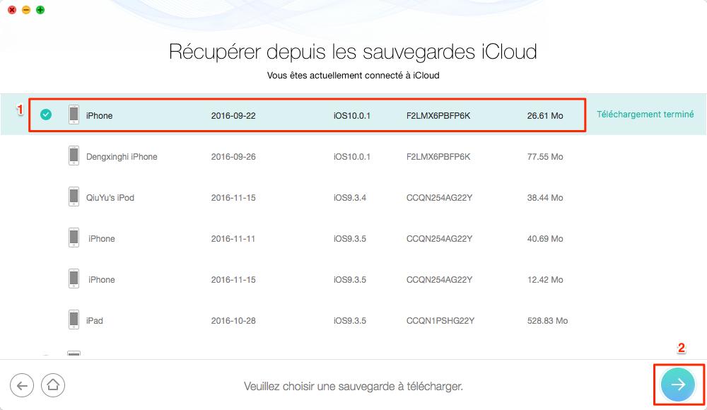Extraire des données depuis iCloud avec PhoneRescue - étape 3