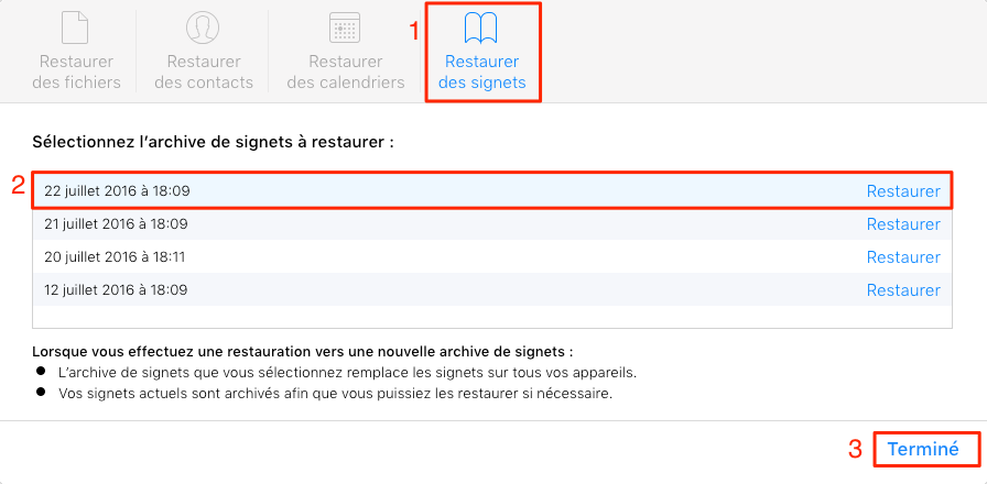 Télécharger les signets sur iCloud