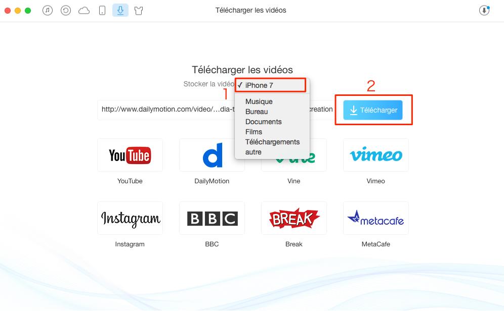 Comment télécharger vidéo sur iPhone/iPad – étape 2