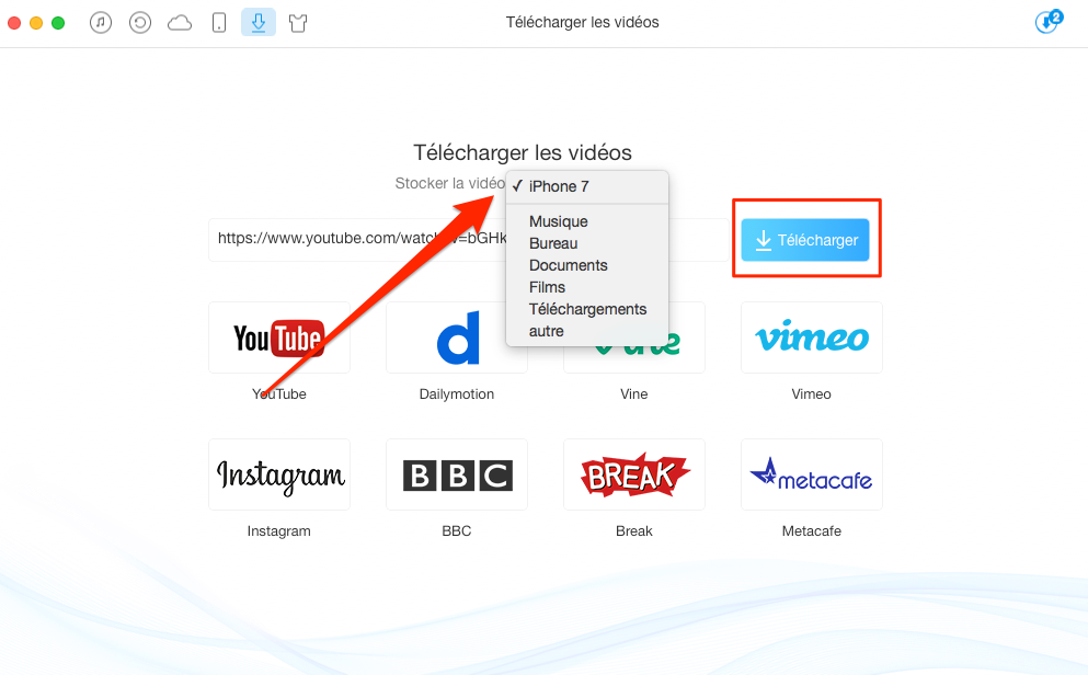 Mettre des vidéos sur iPhone 7 (Plus) directement – étape 2