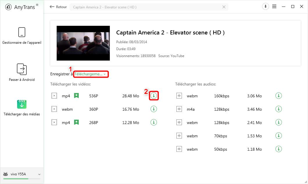 Téléchargement de vidéos YouTube sur Android - étape 2