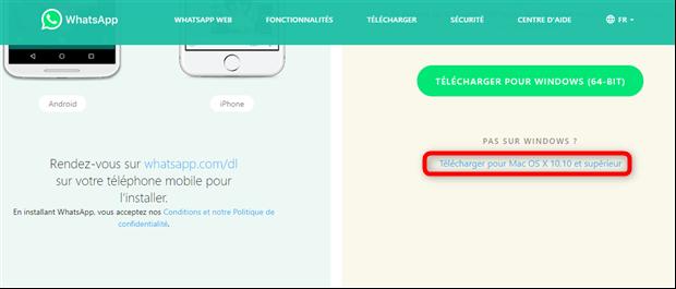 Téléchargement de WhatsApp pour Mac