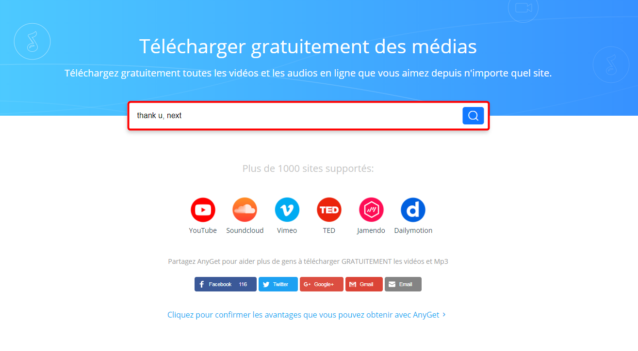 Meilleur convertisseur YouTube en MP3: AnyGet - Étape 1