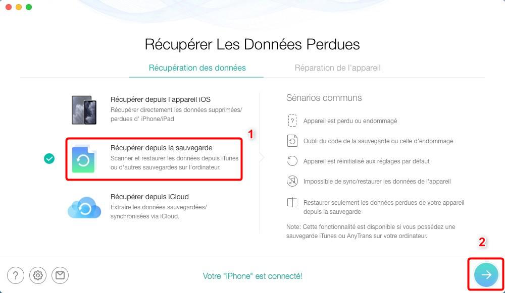 Extraire photos supprimées depuis sauvegarde iTunes avec PhoneRescue - étape 1