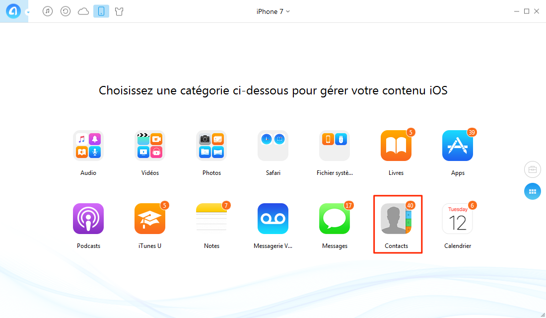 Transférer contacts iPhone vers ordinateur facilement – étape 2