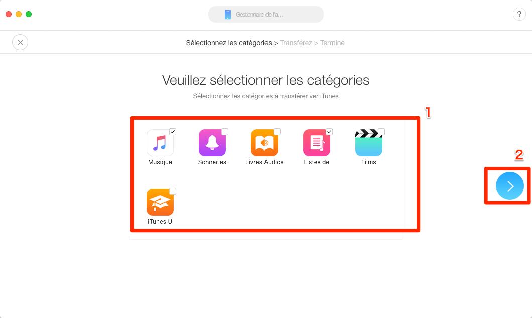 Transférer musique iPod vers iTunes – étape 2