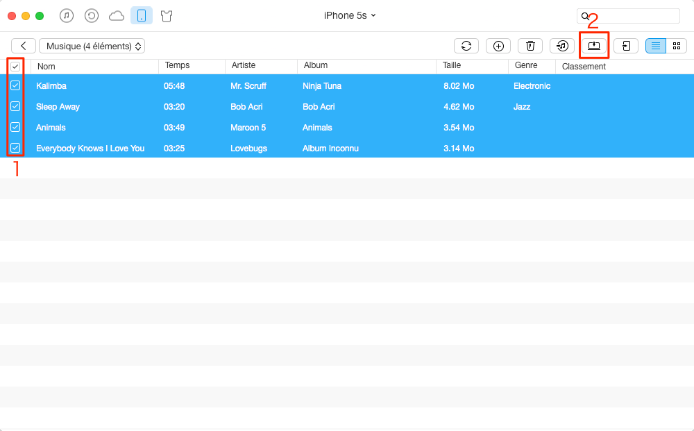 Transfert des musiques iPhone 5 vers PC – étape 3