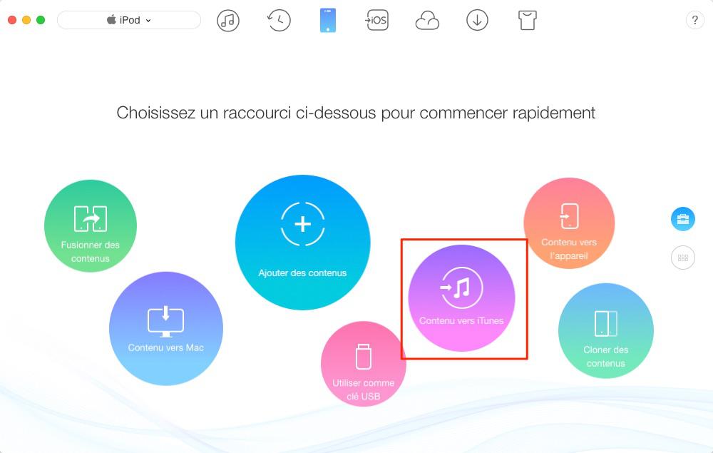Comment transférer musique iPod vers iTunes – étape 1