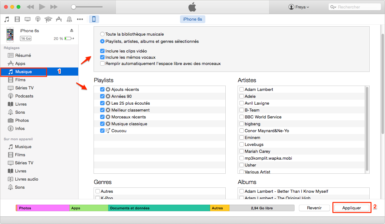 Synchroniser une playlist iTunes vers iPhone via iTunes - étape 3