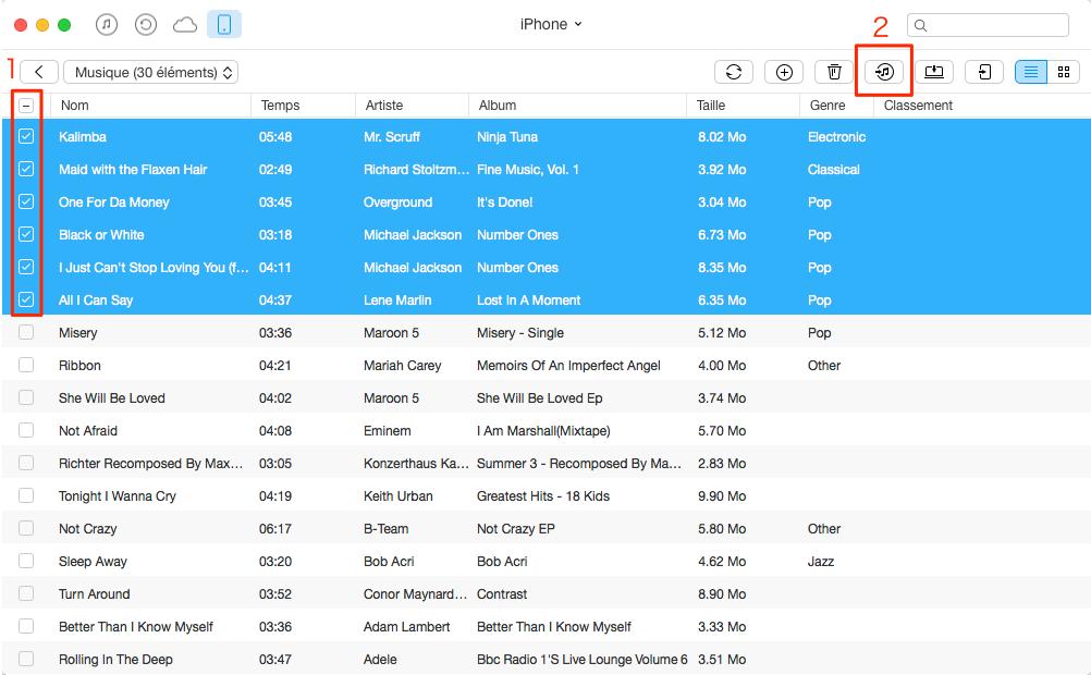 Comment transférer les musiques iPhone vers iTunes – étape 3
