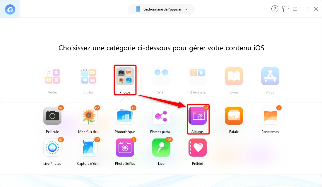 Comment transférer album photo de l'iPhone à l'ordinateur - étape 2