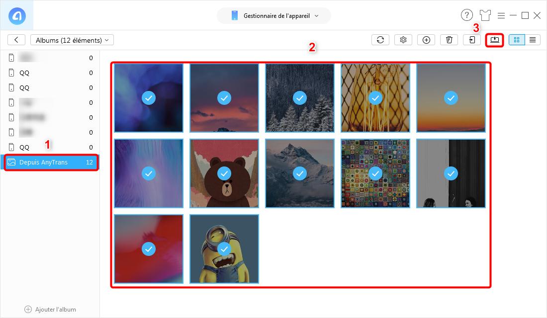 Transférer des albums photos de l'iPhone vers PC/Mac - étape 3